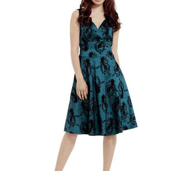 Shimmering Peacock Flocked Dress in Teal