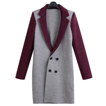 Block Double Breasted Wool Coat