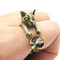 Kitty Cat Eating Fish Shaped Animal Wrap Ring in Brass | US Sizes 7 to 9
