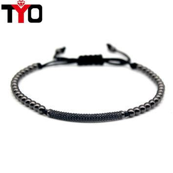 2017 New Fashion Micro Pave CZ Charm Men's Bracelets High Quality Trendy Braiding Beads Macrame Black Bracelets Jewelry.