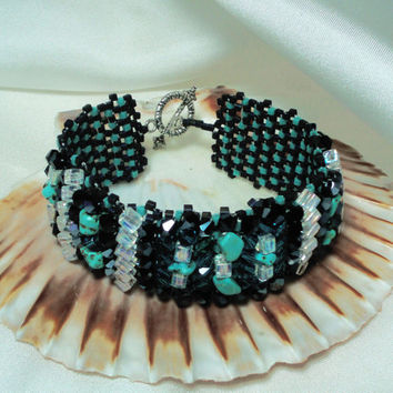 Beaded Original Bracelet. Turquoise  stones and Swarovski Crystals Bracelet. Black Blue Beading Bracelet.