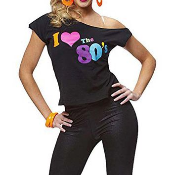 Women's I Love The 80s T-Shirt Black off-shoulder T-shirt Retro Pop Star Fancy Dress Party Ladies Tee Top Sexy Summer T-shirt