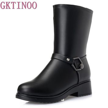 Women Winter Shoes High Quality Mid-Calf Boots Women's Shoe Natural Wool Genuine Leather Women Winter Snow Boot Plus Size 35-43