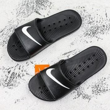 faebbe111036 Nike Kawa Shower Black White Slide Sandal Slipper