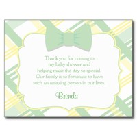 Green Plaid Baby Shower Thank You Cards