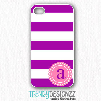 Personalized iPhone4 case, iPhone 4s case, iPhone5 case, iPhone cover, Samsung Galaxy S3 S4, Purple Stripes, Tough Case (1039)