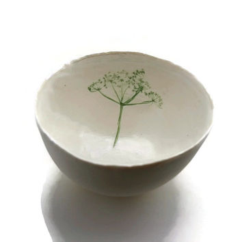Large Porcelain Bowl with Cow Parsley, Country Home Decor Mothers Day Gift