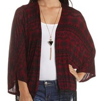 Printed Fringe Kimono Cardigan by Charlotte Russe - Burgundy Cmb