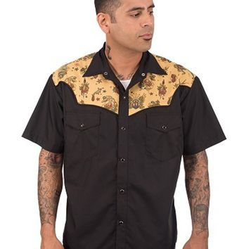 Steady Tattoo Flash Inspired Men's Western Snap Button Shirt Mid Century