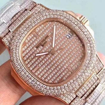 cc qiyif Patek P FULL ROSE DIAMOND 324SC Movement
