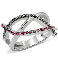 Black and Pink Crystal Stainless Steel Ring