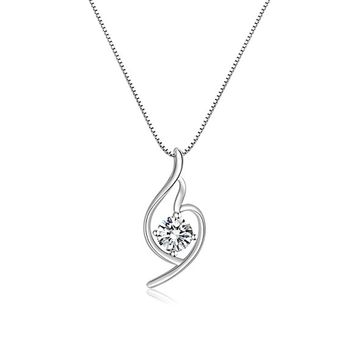 Platinum Italian designed PURE SILVER GREATEST LOVE Heart Pendant Necklace