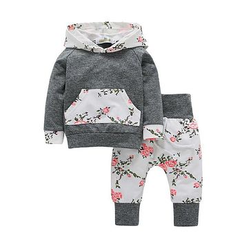 New 2pcs Toddler Infant Baby Boy Girl Clothes Set Floral Hoodie Tops+Pants Outfits Long Sleeve Warm Winter Clothing set #N30
