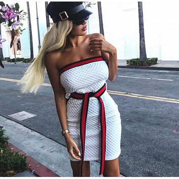 """Hot Sale """"GUCCI"""" Trending Women Sexy Stylish White Strapless Backless Show Body Dress"""