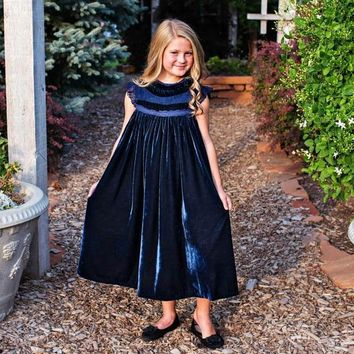 Magnolia Navy Blue Velvet Smock Dress - Toddlers & Girls