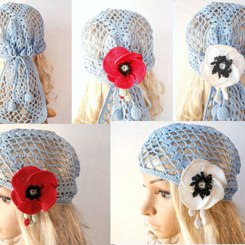 Woman Lace Crochet Vintage Style Blue Headband Dreadlock Hair Snood Wrap Ponytail Kerchief Bandana Gypsy Pirate Tam Dreads Hat Summer