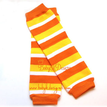 Halloween Unisex Candy Corn Orange Stripe NO Ruffle Legwarmers Baby Boy or Girl Leg Warmers / White Yellow Orange Fall Socks Leggins