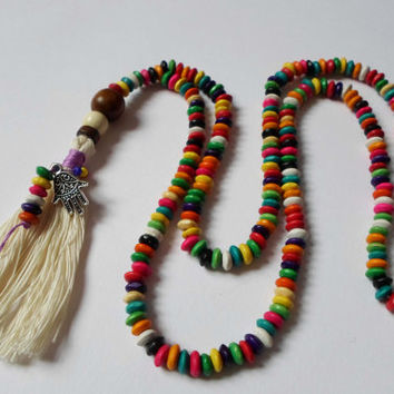 Colorful Long Boho Chic Tassel Necklace, Hamsa hand Necklace, Unique OOAK Necklace, Ethnic Hippie Necklace, Beaded Necklace Gift for her