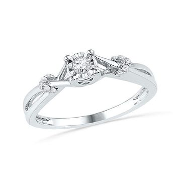 10kt White Gold Women's Round Diamond Solitaire Twist Promise Bridal Ring 1/10 Cttw - FREE Shipping (US/CAN)