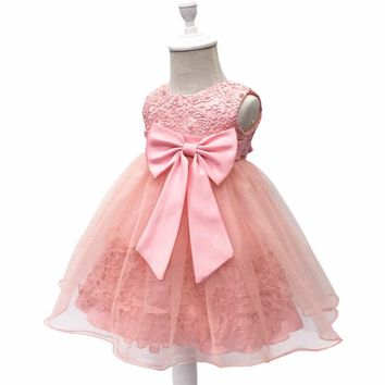 Free Shipping  Cotton Lining 0-2 Yeas Infant Dresses 2017 New Arrival Peach Baby Dress For 1 Year Girl Birthday Christening Gown