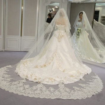 White&Ivory Sequins Long Cathedral Wedding Veils