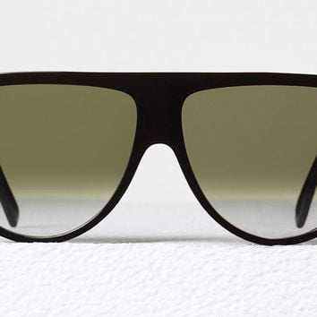 Celine - Thin Shadow Black Acetate Sunglasses, Green Shaded Lenses