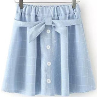 Light Blue Plaid Bow Tie Botton Skirt