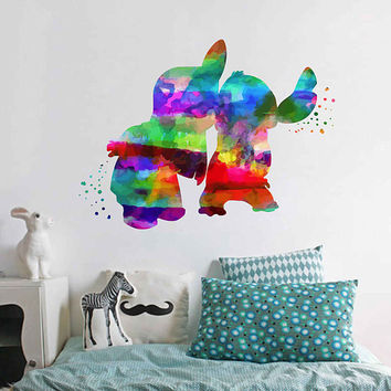 kcik2092 Full Color Wall decal Watercolor Lilo & Stitch Character Disney Sticker Disney children's room