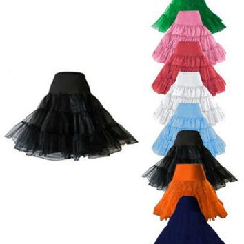 "Free shipping 26"" 50s Retro Underskirt Swing Vintage Petticoat Fancy Net Skirt Rockabilly Tutu many colors S/M L/XL 2XL 4XL 6XL"