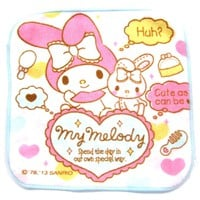 Tiny My Melody Bunny Rabbit and Heart Print Handkerchief Face Towel in Pale Pink