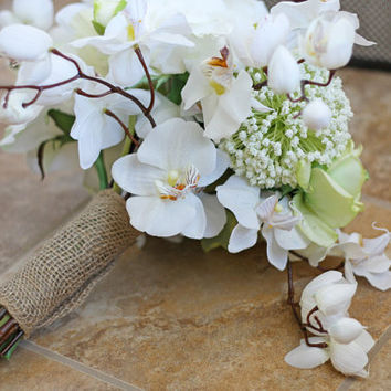 White Orchid and Burlap Garden Rustic by SouthernGirlWeddings