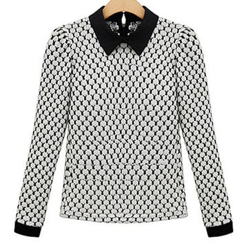 Printed Pointed Flat Collar Cuff Sleeve Sweater