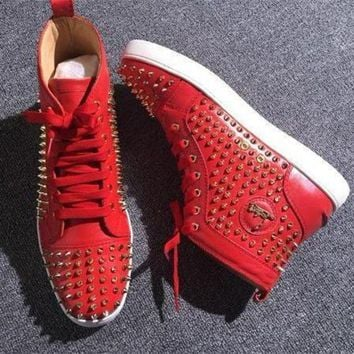 DCCK Cl Christian Louboutin Louis Spikes Style #1879 Sneakers Fashion Shoes