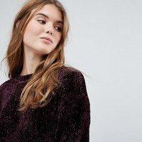 New Look Velour Chenille Crop Sweater at asos.com