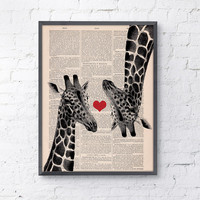 Vintage book print Giraffes in love  Red heart Printed on Vintage Book sheet - Nursery wall art