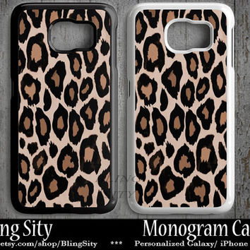Leopard Monogram Galaxy S6 Edge S4 case S5 Cheetah Print Personalized Samsung S3 Case Note 2 3 4 Custom ToughCover