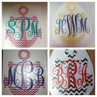 Monogrammed Chevron Anchor Decal  4 in x 3 by MeowMeowHouseDesigns