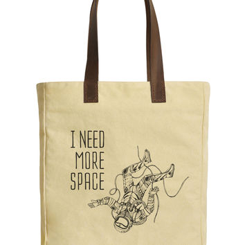 Astronaut And Quote Beige Print Canvas Tote Bags Leather Handles WAS_30