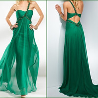 Charming Green Chiffon One Shoulder Prom Dress