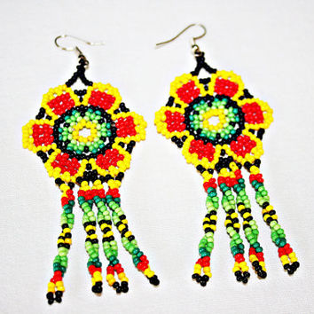 Beaded Huichol Earrings - Bright Beach Dangling Earrings - Beaded Flower Earrings - Native American Earrings - Rasta Earrings - Rasta Colors