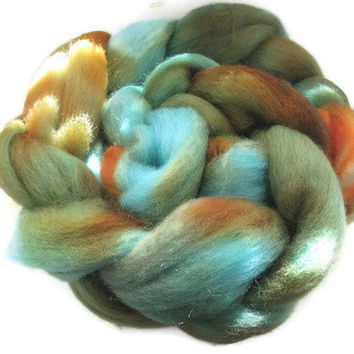 Hand Dyed Roving  - Turquoise, Orange, Brown, Rust