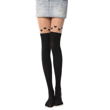 women patterned tights with heart attractive women pantyhose medias de compresion two different colors thin tight sexy#100 SM6