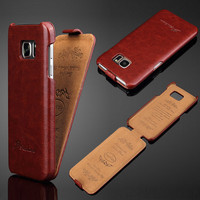 2016 Luxury Fashion S7 Edge Business Flip Style Phone Cover Case Holder Vintage Genuine Leather for Samsung Galaxy S7 S7 Edge