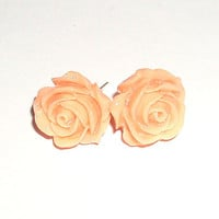 BUY 4 - GET 1 pair earrings FREE..Cute cabochon flower rose  stud post earrings