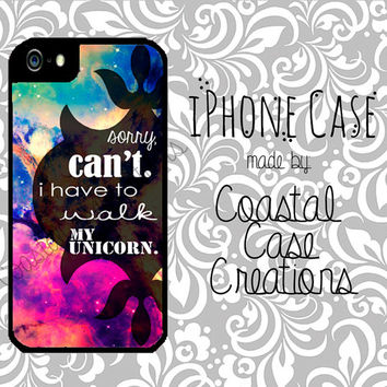 Unicorn Quote Galaxy Apple iPhone 4 4G 4S 5G Hard Plastic Cell Phone Case Cover Original Trendy Stylish Design