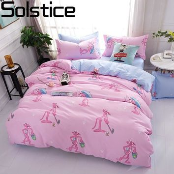 Solstice Cartoon Pink Leopard Children Room 4pcs Bedding Sets Bed Sheet Duvet Cover Pillowcase Bedclothes Twin Full Queen King