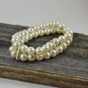 Pearl and Crystal Bar Stretch, Glass Pearl Stretch, Double Strand Pearl Stretch, Pearl stack Bracelet, Antique Flair Stretch