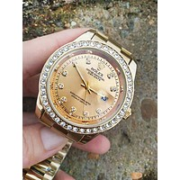 Free shipping-Rolex Simple and versatile fashion quartz watch Golden
