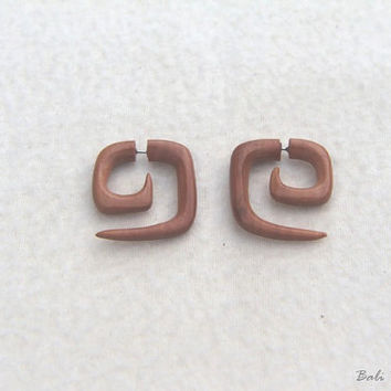 Fake Gauge Earrings, Tribal Square Spiral Wood Earring Fake Piercing, W046 Fake Gage