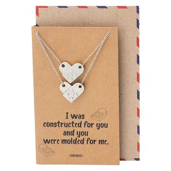 Venice Brick Pendant Necklace, Set of 2 Relationship Goals Gifts for Women with Greeting Card